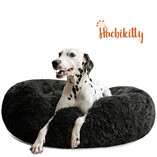 HACHIKITTY Hundebett, beruhigender Donut-Knuddel, für große Hunde, für den Innenbereich, groß, L (30 x 30''), schwarz