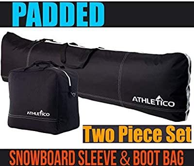Athletico Padded Two-Piece Snowboard and Boot Bag Combo   Store & Transport Snowboard Up to 165 cm and Boots Up to Size 13   Includes 1 Padded Snowboard Bag & 1 Padded Boot Bag
