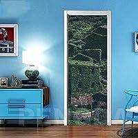 ドアステッカー アート3Dはドアステッカーホームデコレーションビルツリー風景PVC壁画紙ピクチャー自己接着防水の壁紙を更新印刷 (Size : 77x200cm)-95x215cm