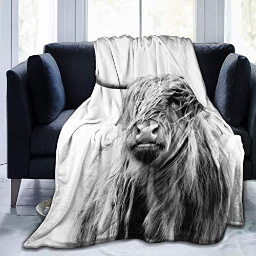 Portrait of a Highland - Manta de forro polar de franela de vaca, mullida y acogedora manta de forro polar, cálida y gruesa para sofá de invierno para niños y adultos, individual de 50 x 40 pulgadas
