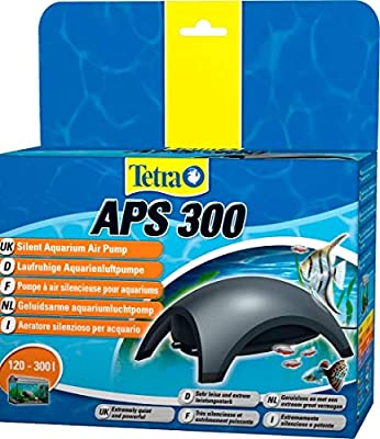 Tetra APS300 Silent Aquarium Air Pump for 120 - 300 Litre Fish Tanks, Black