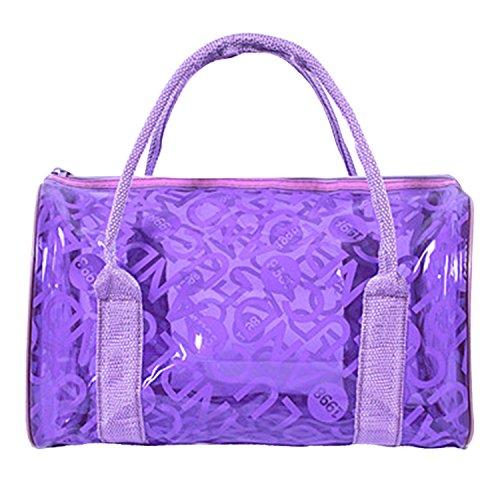 Panegy Moda Bolsa Impermeable con Asas Transparente Bolso de Mano de Playa para Natación Deportes Fitness - Púrpura