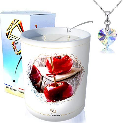 ArtGosse - Candela gioiello a 2 stoppini, profumata alla mela, ornata di cristalli Swarovski®