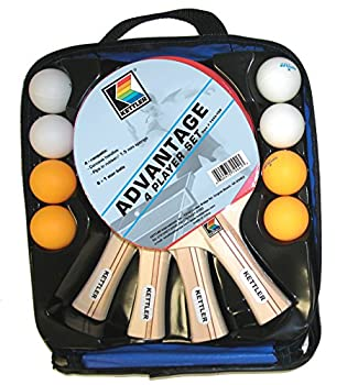 Kettler Advantage Indoor Table Tennis Bundle  4 Player Set  4 Rackets/Paddles and 8 Balls