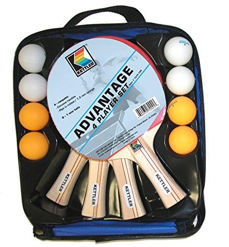 Kettler Advantage Indoor Table Tennis Bundle: 4 Player Set (4 Rackets/Paddles and 8 Balls)