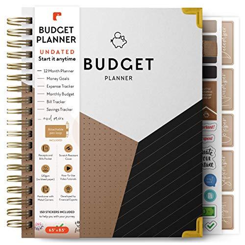 DebtorEdu Budget Planner - Comprehensive Monthly Budgeting Journal, Debt Tracker, Bill Organizer - Undated (Start Anytime) (White, Beige, Black, Gold)