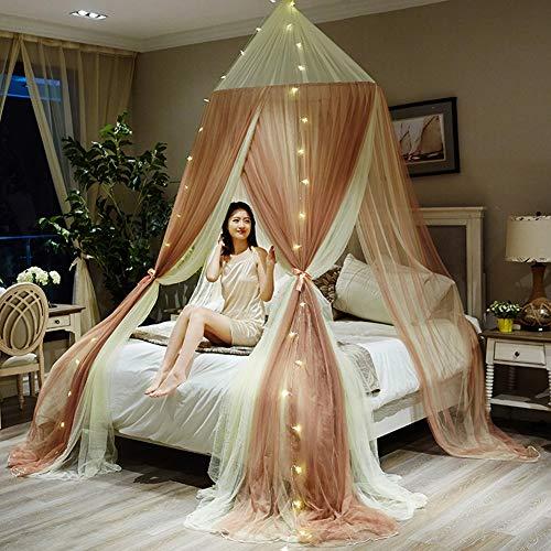 YXZN Kuppelbett Vorhang, Große Romantische Mädchen Prinzessin Moskitonetz Runde Kuppel Vorhang Bett Baldachin Spitze Zelt Bettwäsche, Für 0,9M - 2M Bett Universalgröße