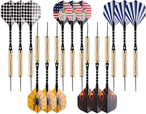 15 Pack Steel Tip Darts, 18 Grams Professional Steel Tip Darts Set, Aluminum Shafts & Brass Barrels, Levels in Every Rec Room, Man Cave, Bar and Game Room