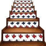 Adhesivos para escaleras, diseño de peces pequeños, simétricos, para acuario bajo el agua, color azul marino, rojo, blanco y negro, para decoración de casa, rojo-01  , 7'x39.3'x6pcs