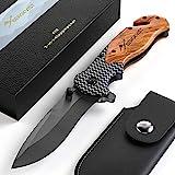 BERGKVIST 3-en-1 couteau pliant K19 couteau tranchant I Couteau de poche pliant avec poignée en bois et lame en titane en acier inoxydable I Couteau de survie avec pierre d'affûtage