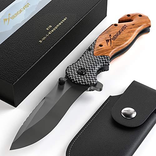 BERGKVIST® K19 Klappmesser (Einhandmesser) mit Holzgriff & Titanium für Outdoor & Survival - 3-in-1 Taschenmesser mit Glasbrecher & Gurtschneider