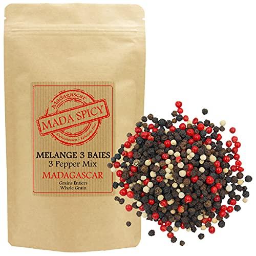 Mezcla 3 pimientas granos enteros de Madagascar 125 gr. Bolsita eco cierre zip.