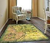 Plushe Alfombra, Mapa del Señor de los Anillos, Alfombra de Cocina de la Sala de Estar del Dormitorio, Alfombra de Felpudo, Alfombra de Juego para niños. 160X160cm