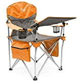 Creative Outdoor Collapsible Folding Wine Chair with Adjustable Table | iChair | Camping Picnic Beach & Patio | Orange/Gray