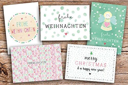 5er Weihnachtskarten Set Frohe Weihnachten MIX Grußekarte Weihnachtskarten
