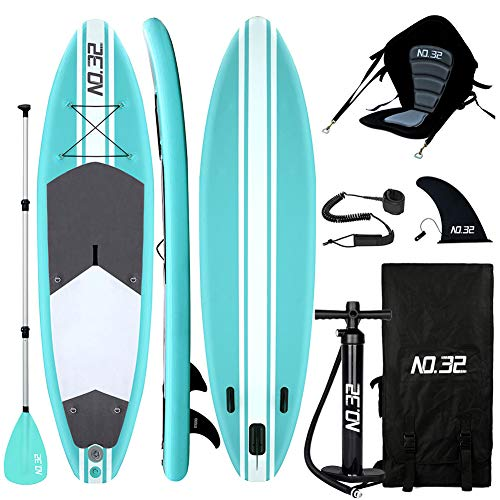 10ft / 3m Inflatable Stand Up Paddle Board | Inflatable SUP Board Beginner's Surfboard Kit w/Adjustable Paddle | Air Pump w/Pressure Guage | Repair Kit | Premium Leash | Kayak Seat & Carry Backpack