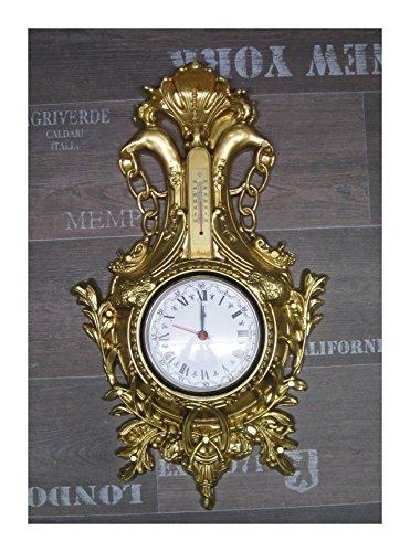 Lnxp Wanduhr Uhr Schwan in Gold mit Thermometer Antik Barock Look 38x65cm Quarz Uhr NEU
