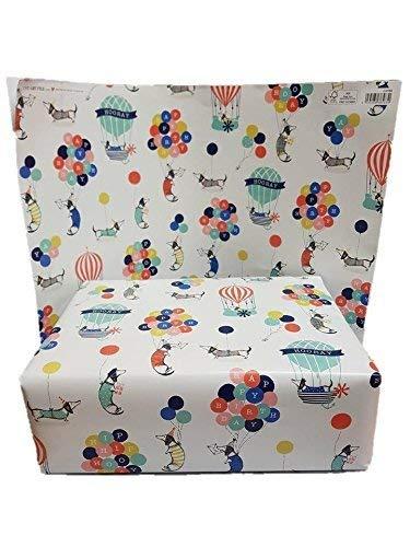 Gelukkige Verjaardag Hond en Ballon Ontwerp Wrapping Paper door The Art File 4 Sheets per Pack