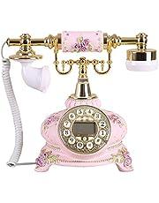 美しいレトロな電話-アンティークの攜帯電話有線固定電話のホームオフィスの固定電話(ピンク)