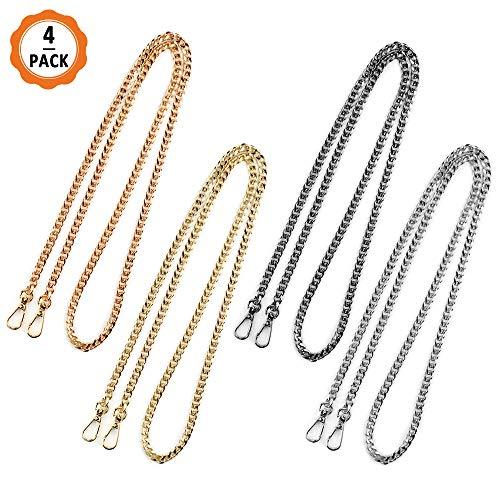Metall Schulterriemen 4 Stücke Kette Trageriemen Taschenkette Ersatz für Damen Handtaschen Umhängetasche Geldbeutel, 4 Farben (120CM)