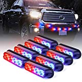 Xprite Red & Blue 4 LED 4 Watt Surface Mount Deck Dash Grill Grille Strobe Lights Warning Police Light for Emergency Vehicle - 8 Pieces