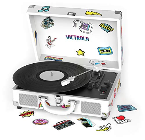 Victrola VSC-400SB-CNV Bluetooth Suitcase Turntable Canvas with CustomStickers and Stencils (White)