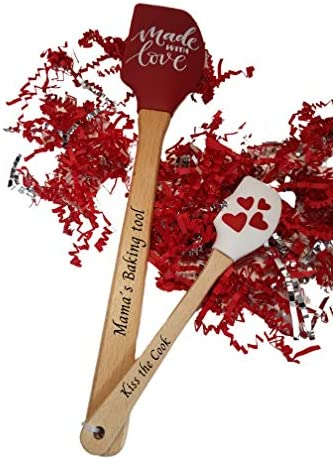 Mushland Personalized Engraved 2 Piece set Valentine s Silicone Spatula with Wooden Handles product image