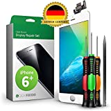 GIGA Fixxoo Display Set kompatibel mit iPhone 6 Plus, Reparaturset Komplett Weiß, Ersatz Bildschirm, Retina LCD Glas mit Touchscreen, inkl. integrierte Frontkamera & Werkzeug