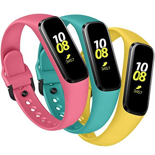 KIMILAR Armbänder Kompatibel mit Samsung Galaxy Fit E Armband Silikon (Nicht für Fit) [3 Pack], Schlank Ersatzband Uhrenarmband Kompatibel mit Galaxy Fit E 2019 Smartwatch -Blaugrün/Gelb/Rosa