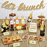 """Brunch is always a good idea with this Brunch & Cocktail Party Mimosa Kit! Featuring """"Let's Brunch"""" gold glitter banner, assorted drink and bottle label tags, and party table signage. Perfect for brunches, charcuterie parties, cocktail celebrations, ..."""