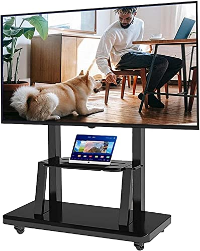 Upgraded Mobile TV Stand for 65/60/55/50/43/42/40/35/32 Inch TV, Heavy Duty Black Universal Rolling TV Cart with Wheels & Storage, Office/Scho