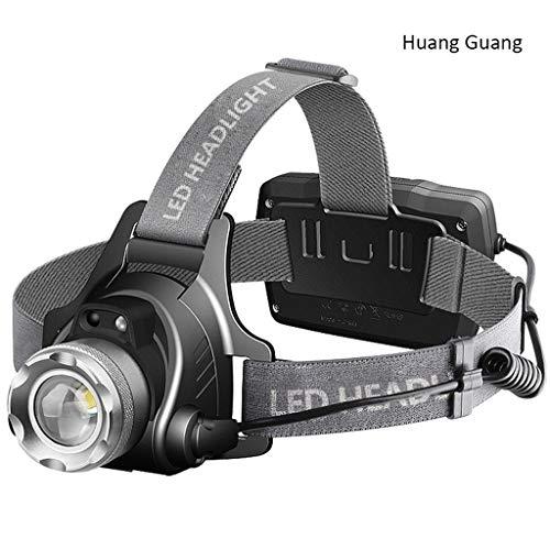 Lovely Scheinwerfer Blendung Induktion Aufladung Superhell Kopfmontierte Weitbereichs-3000-Zoom-LED-Nachtangler-Bergmannslampe (Color : Yellow Light)