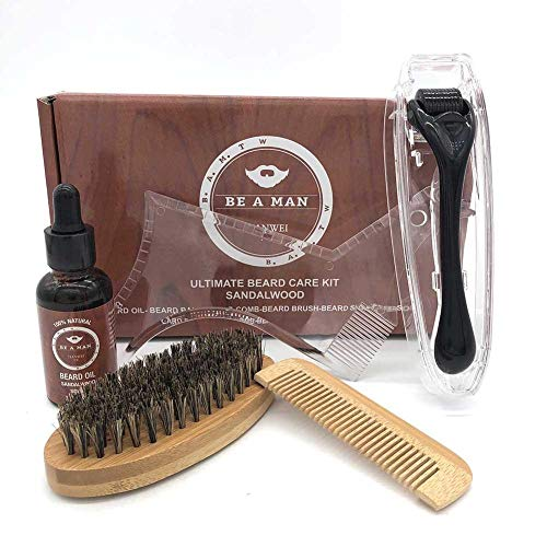 Blentude Bartpflege Trimmen Kit Bart-Wachstum Roller Care Tools Geschenk-Set für Männer