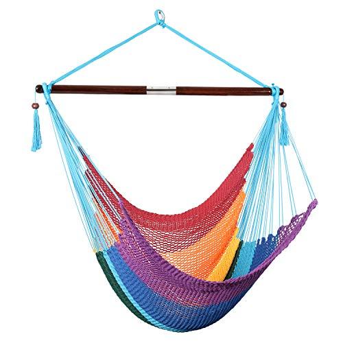Bathonly Large Caribbean Hammock Hanging Chair, Durable Polyester Hanging Chair, Swing Chair w/Foldable Spreader Bar for Indoor/Outdoor Garden & Living Room - Multicolor
