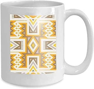 Mug Coffee Tea Cup Seamless Tribal Pattern Textile Design Geometrical Ethnic Print Mix Rhombuses Triangles Stripes Fervent 110z