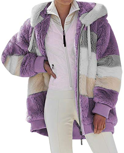 Minetom Abrigo con Capucha Mujer Invierno Bolsillo Cremallera Manga Larga Caliente Felpa Chaqueta Parka Morado 36