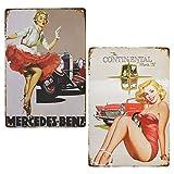 LZYMSZ 2 carteles de metal vintage con diseño de chica de The Continental Pin-up Chica, letrero de lata de metal, póster vintage, para garaje, hogar, bar, decoración de pared