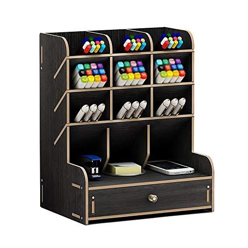 Organizer da scrivania in legno multifunzionale per cassetti, cancelleria, scrivania, portapenne per casa, ufficio e scuola Nero