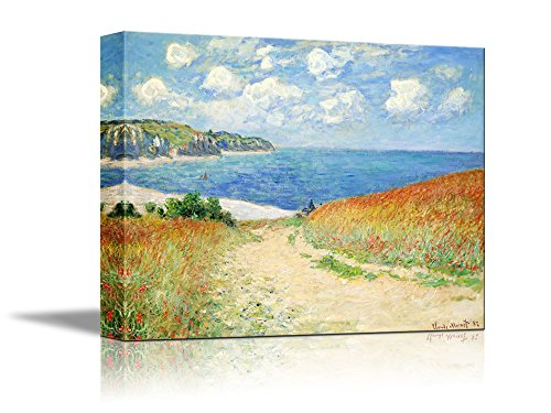 wall26 Path Through The Corn at Pourville by Claude Monet Giclee Canvas Prints Wrapped