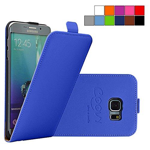 COOVY® Cover für Samsung Galaxy S6 Edge + Plus SM-G928F Slim Flip Case Tasche Etui inklusive gratis Displayschutzfolie | Farbe dunkelblau