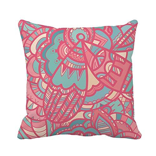 N\A Throw Pillow Cover Batik Colorful Whimsical Fancy Meditativo Boho Hippie Gypsy Zentangle Funda de Almohada Funda de Almohada Cuadrada Decorativa para el hogar Funda de cojín