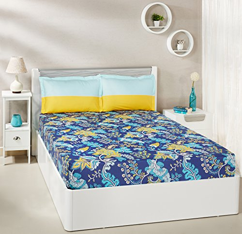 Solimo Floral Foliage 144 TC 100% Cotton Double Bedsheet with 2 Pillow Covers, Navy Blue