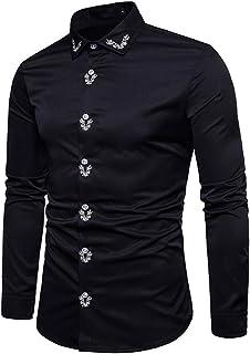 Mr.BaoLong&Miss.GO Otoño Nuevas Camisas De Hombre Europeas Y Americanas Camisas De Moda Palacio Estilo Bordado Camisa De M...