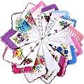 15 Pieces Ladies Hankies Women Floral Handkerchiefs Vintage Cotton Handkerchiefs