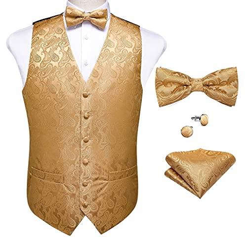 YFQHDD Chaleco clásico de traje de oro para hombre, chaleco de seda con pajarita y pañuelo para fiestas, chalecos de boda (talla XL: