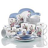 VEWEET Hannah Vajillas de 40 Piezas Juegos de Porcelana con 8 Hueveras, 8 Tazas Mugs 350 ml, 8 Cuencos de Cereales, 8 Platos y 8 Platos de Postre para 8 Personas