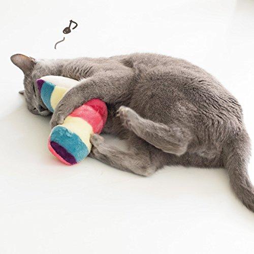iDogアイドッグiToyカラフルしまねこキャットニップ入りピンク猫おもちゃ国産