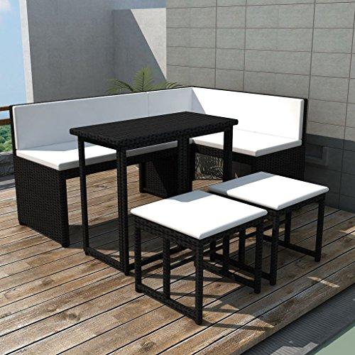 WEILANDEAL tuinmeubelset van polyrotan, zwart, 12-delige set van roestvrij staal, afmetingen van de hoekbank: 100 x 50 x 71 cm (B x D x H)
