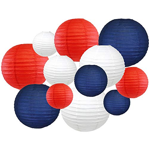 Blue, Red & White Paper Lanterns (12pcs Assorted Sizes) French flag colours