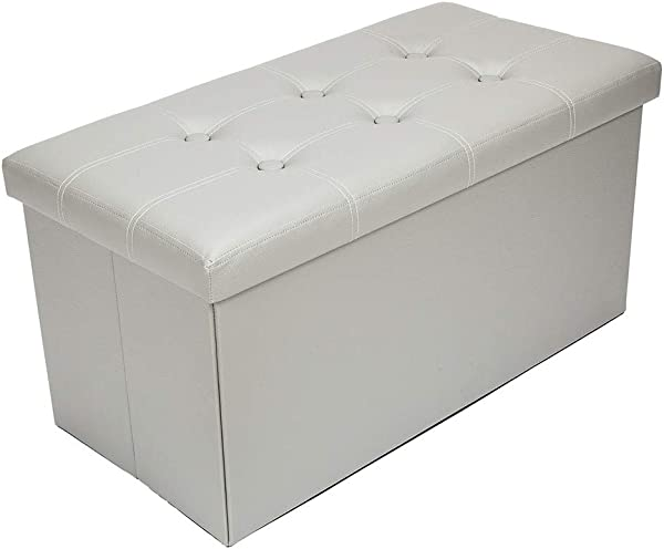 Simply Me Storage Ottoman Bench Leather Folding Bench Foam Seat Storage Chest Box With Cover Leather Button Footstool